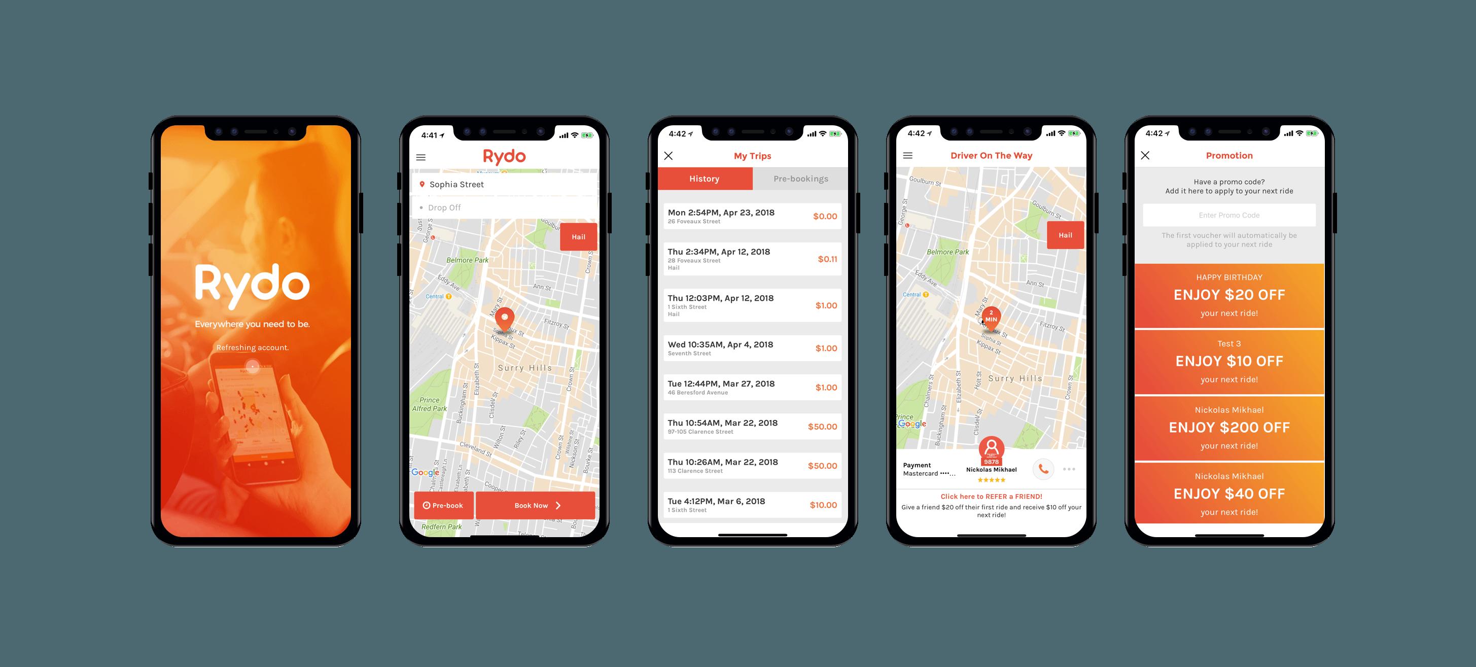rydo-app-screens